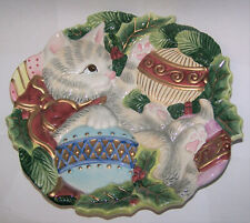 """Pre-Owned Fitz And Floyd Essentials 9"""" Cat With Ornaments Christmas Plate"""