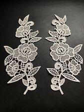 Ivory Floral Flower Leaf Motif 2 Pcs Applique Sewing Craft Venise Lace Trim