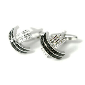 Diamante Cross Cufflinks Black Silver Bling Cuff Link Engraved Chrome Gift Box