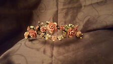 Flower Headband Dusty Grey Pink Rose Bridal Festival Boho Wedding Crown Tiara