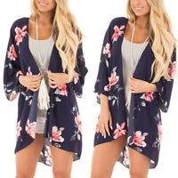 Women's Boho Kimono Cardigan Summer Beach Floral Chiffon Coat Jacket Blouse Tops