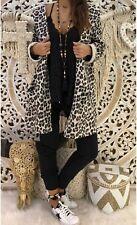 Women Leopard Print Long Sleeve Hoodies Long Trench Coat Jacket Outwear Cardigan