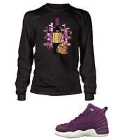 Tee Shirt To Match AIR JORDAN 12 BORDEAUX Shoe Mens Black Long Sleeve Pro Club T