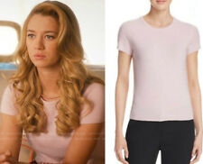 C by Bloomingdale's Women's Pink Crewneck Cashmere Short Sleeve Sweater Med $138