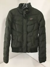 HOLLISTER WOMEN'S SHERPA LINED DOWN JACKET OLIVE SMALL PRE OWNED