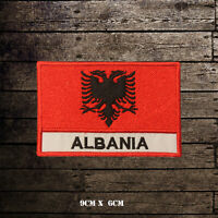ALBANIA Flag With Name Embroidered Iron On Sew On Patch Badge For Clothes Etc