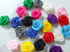 80 Mixed Joblot Satin Ribbon Roses Embellishment 15mm Wedding Sewing Card Dress