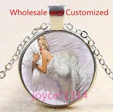 Marilyn Monroe Cabochon Tibetan silver Glass Chain Pendant Necklace #4591