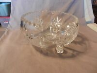 Large 3 Footed American Brilliant Period Deep Cut Crystal Bowl Star of David