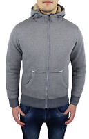 SWEATSHIRT MENS CARDIGAN GREY SLIM FIT CASUAL SPORT JERSEY HOOD from S to XXL