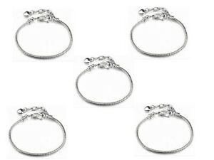 5pcs Silver Plated Bracelets chain Screw bangle Fit Charms Beads 20cm