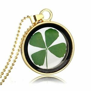 Natural Dried Pressed Flower Leaf Clover Blossom Glass Pendant Necklace Women