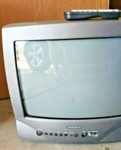 "Daewoo 13"" Color CRT TV Front & Back Inputs DTQ13V1FC Retro Gamer w/ Remote"