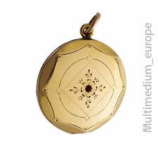 Jugendstil Double Rotgold Medaillon Anhänger Granat Paste locket 🌺🌺🌺🌺🌺