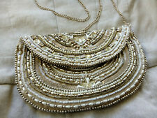 Accessorize Beaded Sequin Clutch Bag Purse White Gold/ Silver with Silver Chain