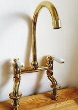 Traditional Brass Antique Gold Lever Bridge Tap Ideal For Belfast Butler Sink