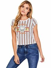 GUESS T-Shirt Women's Embellished Logo Graphic Cropped Tee Top M White NWT
