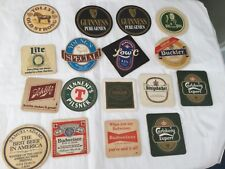 Mixed lot of 17 beer coasters European, United Kingdom and USA