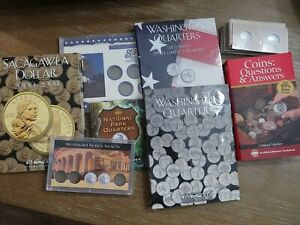 State Quarter Collection Folders, coin books, dollar folder, and coin holders