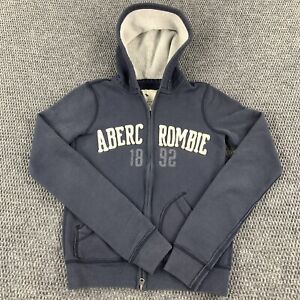 Abercrombie & Fitch Hoodie Sweatshirt Jacket Youth Large Blue Spell Out Thick