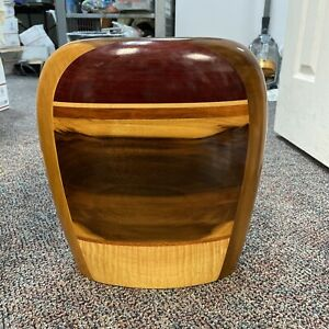 "Vintage 15"" Mixed Wood Vase Modernist Weed Pot Artist  Paul LaMontagne"