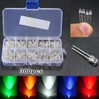 300pcs 3mm Round Bright Light LED Diode Lamp Assortment Kit Red White Blue Green