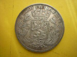 Belgium silver coin 5 francs 1867