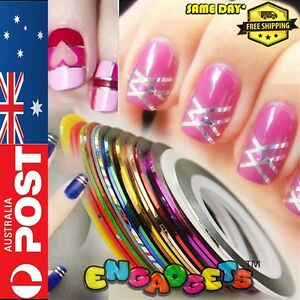15 Mixed Color Nail Tape Rolls Striping Art Decoration Sticker AUSTRALIA