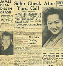 James Dean Dies in Car Crash Original Paper 1st October 1955 East of Eden B1