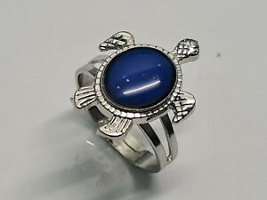 Mood Ring, Turtle shape, Changing Colour for Adults,  Antique Silver, UK Size: O