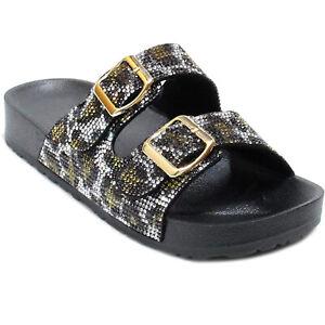New Women's Rhinestone Glitter Footbed Buckled Double Strap Slide Slipper Sandal