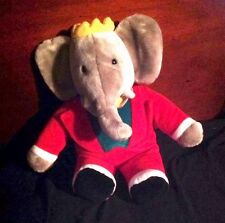 "Stuffed Animal Babar the Elephant Red Suit Green Vest Crown 14"" Costume 1988"