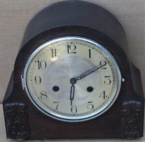 LARGE OLD WORKING WOODEN CASED HALLER STRIKING MANTEL CLOCK