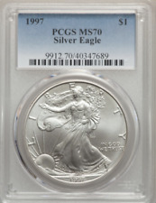1997 $1 Silver American Eagle MS70 PCGS POP 159!