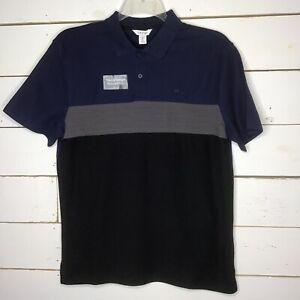 New Calvin Klein Polo Lightweight Short Sleeve Blue Black Stripe Mens M-XXL