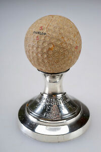 RARE ANTIQUE VINTAGE 1937 DUNLOP GOLF BALL SILVERPLATE HOLE IN ONE TROPHY