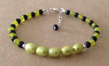 Black Onyx+Peridot+PERIDOT CFW Rice Pearl, Sterling Silver, Beaded Bracelet