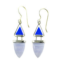 New Fashion Handcrafted Lapis Blue Lace Agate Sterling Silver Dangle Earrings