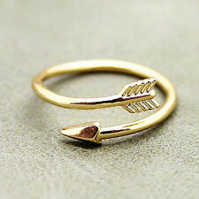 Superb Women Girl Rings Gold Silver Adjustable Arrow Open Knuckle Ring ~JP