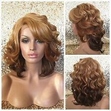 Strawberry Blonde Auburn Brown Ombre Lace Front Wig Layered Bangs Heat Safe Ok