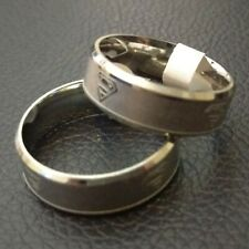 Superman Ring, UK Size P - Silver - Engraved Logo Superhero stainless steel band