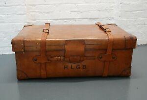 Antique Harrods of London leather steamer trunk