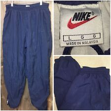 Nike Mens Size Large Vintage Classic Navy Blue Lined Track Athletic Pants | DD