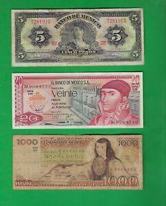 MEXICO PESOS 1961 - 1983  > 5 , 20 , 1000 ~ 3 X PAPER MONEY LOT # 4674 (*-*)