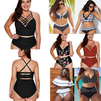 Plus Size Womens High Waist Bikini Set Swimsuit Bathing Suit Two Pieces Swimwear