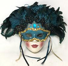 Vintage Mardi Gras Ceramic Mask 1980s Feathered Masquerade Lady Wall Art Decor