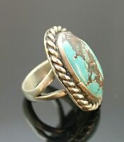 HANDCRAFTED VINTAGE GENUINE TURQUOISE TWISTED ROPE STERLING SILVER RING SZ 5.75