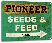 Pioneer Seed and Feed Vintage Farm Vintage Retro Rustic Metal Tin Sign