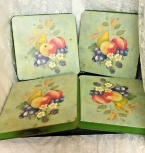 """Set of 4 Vintage Metal Trays or Burner Covers Square Green Fruit Flowers 9"""" x 9"""""""