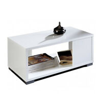 Mesa de centro blanco brillo diseño moderno mesa baja salon comedor 35x80x50 cm